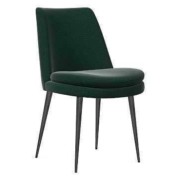 Finley Dining Chair, Low Back, Gunmetal Leg, Distressed Velvet, Forest, Gunmetal - West Elm