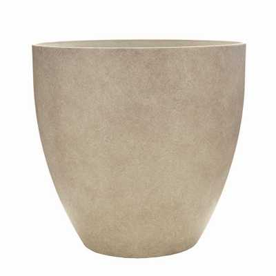 Southern Patio Egg 13 in. Dia Bone Resin Planter, Ivory - Home Depot