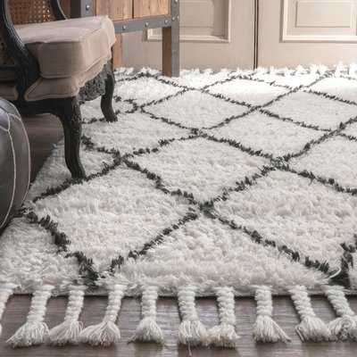 Twinar Geometric Hand-Knotted Wool Off White/Dark Gray Area Rug - AllModern