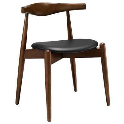 Stalwart Dark Walnut Black Dining Side Chair - Home Depot