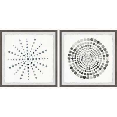 'Dots Portal Diptych' 2 Piece Framed Watercolor Painting Print Set - Wayfair