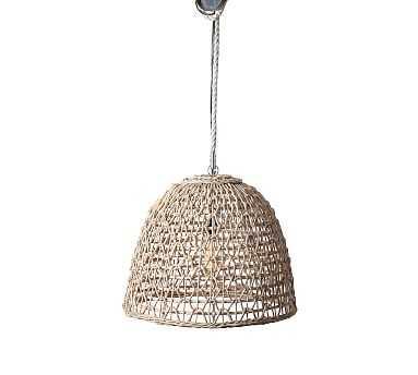 Open Weave Rattan Dome Pendant, Beige - Pottery Barn