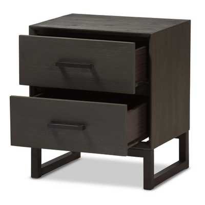 Baxton Studio Parris 2-Drawer Grey and Black Nightstand - Home Depot