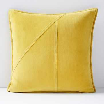 "Washed Cotton Velvet Pillow Cover, Golden Yellow, 18""x18"" - West Elm"
