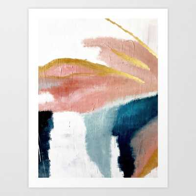 Exhale: a pretty, minimal, acrylic piece in pinks, blues, and gold Art Print - X-Large by Blushingbrushstudio - Society6