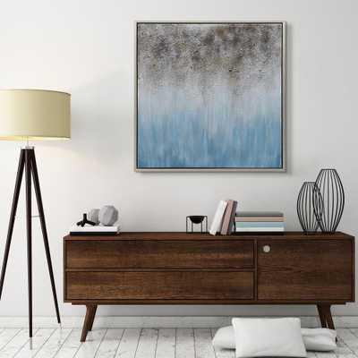 Empire Art Direct Blue Shadow Textured Metallic Hand Painted by Martin Edwards Framed Abstract Canvas Wall Art, Silver - Home Depot