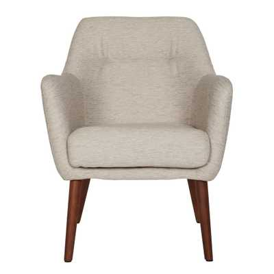 Julesburg Mid-Century Modern Arm Chair in Oatmeal Tan Textured Strie - Home Depot