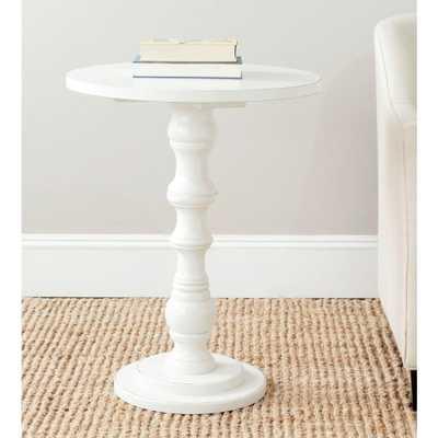 Greta Off-White End Table, Shady White - Home Depot