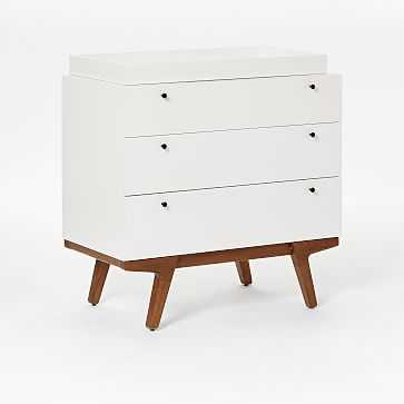 Modern 3-Drawer Changing Table and Topper, White/Pecan - West Elm
