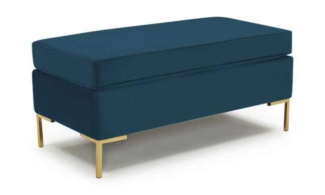 Blue Dee Mid Century Modern Bench with Storage - Sunbrella Premier Lagoon - Joybird