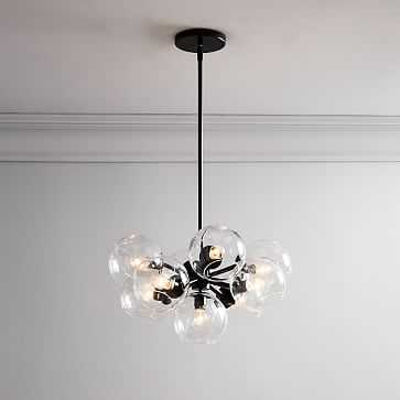 Staggered Glass Chandelier, Clear, Bronze - West Elm