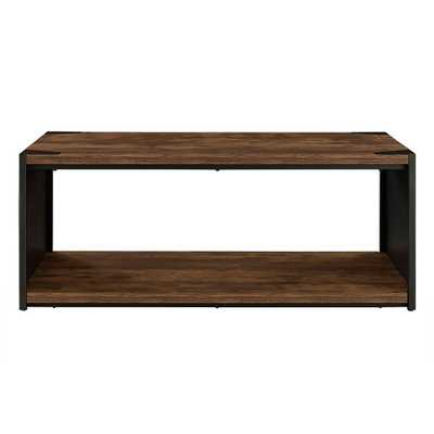 Rustic Brown Storage Coffee Table - Home Depot