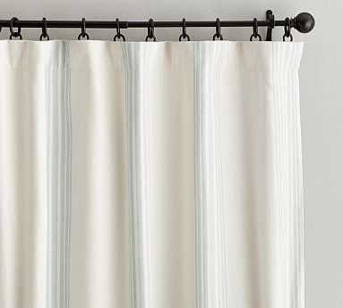 "Riviera Stripe Drape with Blackout Liner, 50"" x 96"", Porcelain Blue - Pottery Barn"