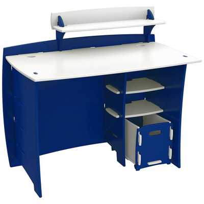 Kid's Desk with Accessory Shelf and File Cart in Race Car Collection Blue and White Finish - Home Depot