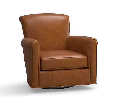 Irving Leather Swivel Armchair, Polyester Wrapped Cushions, Leather Vintage Caramel - Pottery Barn