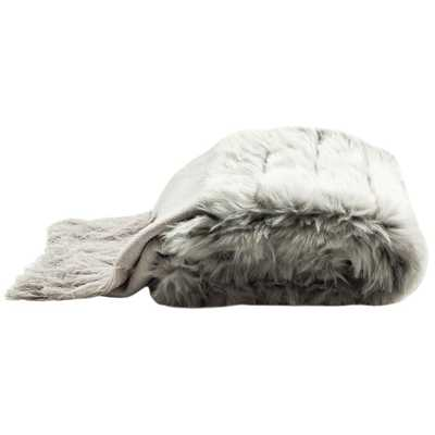 Faux Fur Alexi Bed Runner Grey Throw - Home Depot