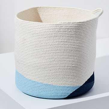 Closed Mondays Woven Bucket Basket, Extra Large, Pale Blue/Ocean Blue - West Elm
