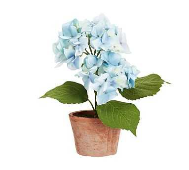 Faux Potted Hydrangea, Light Blue, Double - Pottery Barn
