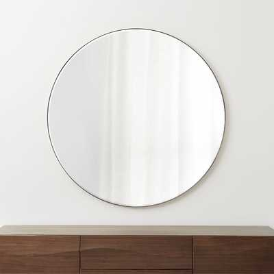 """Edge Brushed Nickel Round 48"""" Wall Mirror - Crate and Barrel"""