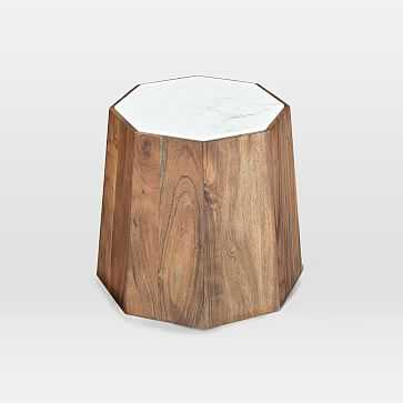 Marble + Wood Geo Side Table - West Elm