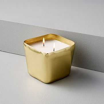 Organic Shaped Metal Candle, Square - West Elm
