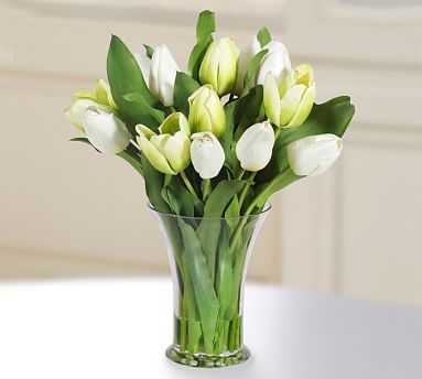 Faux Tulip in Glass Vase - White/Green - Pottery Barn