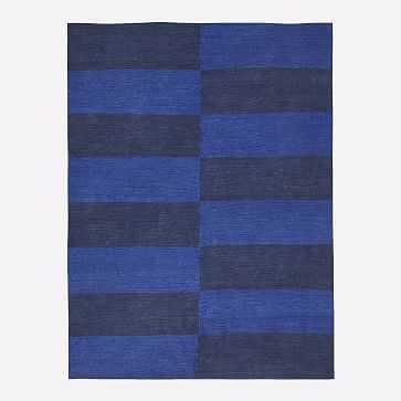 Jute Broken Stripe Rug, Landscape Blue, 8'x10' - West Elm