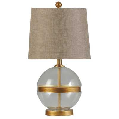 StyleCraft 22 in. Midfield Table Lamp with White Hardback Fabric Shade - Home Depot
