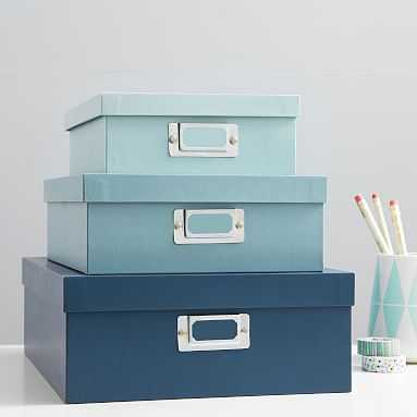 Paper Stacking Storage Boxes, Set of 3, Cool - Pottery Barn Teen