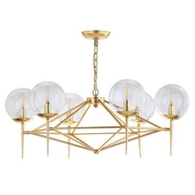 Safavieh Greyor 6-Light Gold Chandelier with Clear Shade - Home Depot