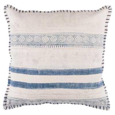 Bani Bazaar Ivory Shibori Blue Pillow - 20x20 - Kathy Kuo Home