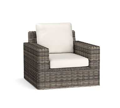 Torrey All-Weather Wicker Square-Arm Swivel Occasional Chair, Charcoal Gray - Pottery Barn
