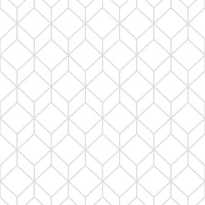 Myrtle Geo White and Silver Removable Wallpaper Sample, White/Silver - Home Depot