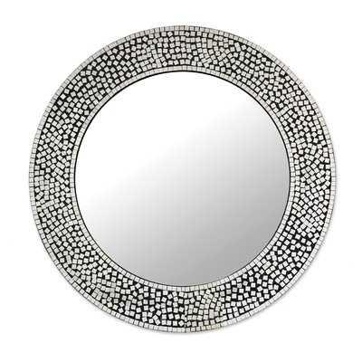 Pinner Mosaic Round Shimmer Accent Mirror - Wayfair
