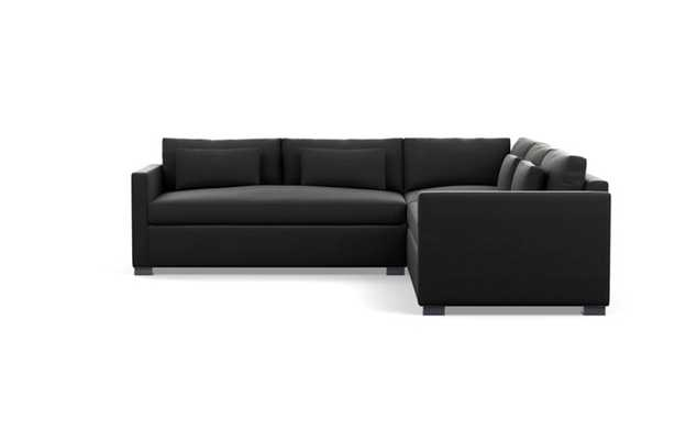 Charly Sectionals with Smoke Fabric and Painted Black legs - Interior Define