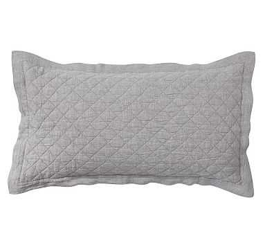 Belgian Flax Linen Diamond Quilted Sham, King, Flagstone - Pottery Barn