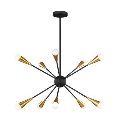 Generation Lighting Designer Collections Jax 27.25 in. W 10-Light Midnight Black Chandelier - Home Depot