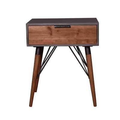Litechnologies Inc. Dba Grey Wood End Table with Drawer - Home Depot
