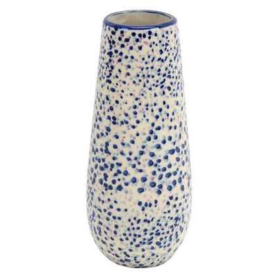 THREE HANDS 8 in. Blue Ceramic Vase - Home Depot