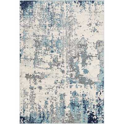 Wyona Distressed Abstract Navy/Aqua Area Rug - Wayfair