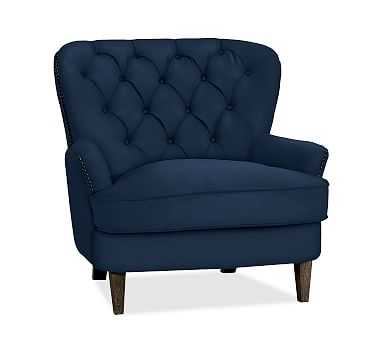 Cardiff Upholstered Tufted Armchair, Polyester Wrapped Cushions, Performance Everydayvelvet(TM) Navy - Pottery Barn