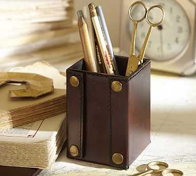 Saddle Leather Pencil Cup, Chocolate - Pottery Barn