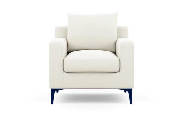 Sloan Petite Chair with Ivory Fabric and Matte Indigo legs - Interior Define
