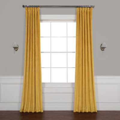 Exclusive Fabrics & Furnishings Aztec Gold Heritage Plush Velvet Curtain - 50 in. W x 108 in. L - Home Depot
