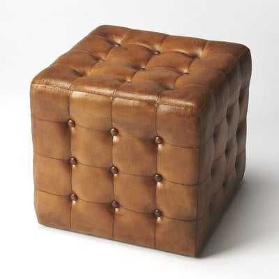 Elgin Leather Cube Ottoman - Wayfair