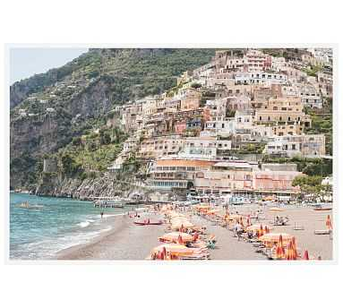 "Beach Days in Positano by Rebecca Plotnick, 28 x 42"", Wood Gallery Frame, White, No Mat - Pottery Barn"