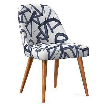 Midcentury Upholstered Dining Chair, Wood Leg, Midnight, Lively Lines, Pecan - West Elm
