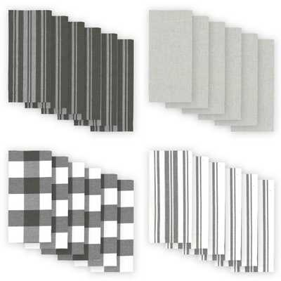 Farmhouse Living Stripe and Check 20 in. W x 20 in. L Gray/White Napkins (Set of 24) - Home Depot