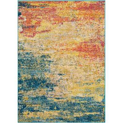 Artistic Weavers Lisbon Yellow/Teal (Yellow/Blue) 7 ft. 10 in. x 10 ft. 3 in. Abstract Area Rug - Home Depot