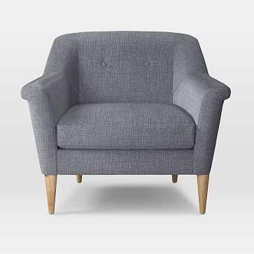 Finn Armchair, Yarn Dyed Linen Weave, Shelter Blue - West Elm